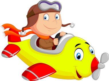 Little Boy cartoon Operating a Plane