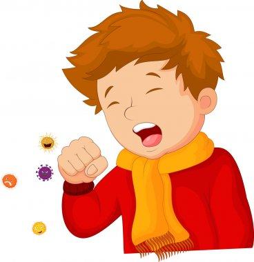 Cartoon little boy coughing