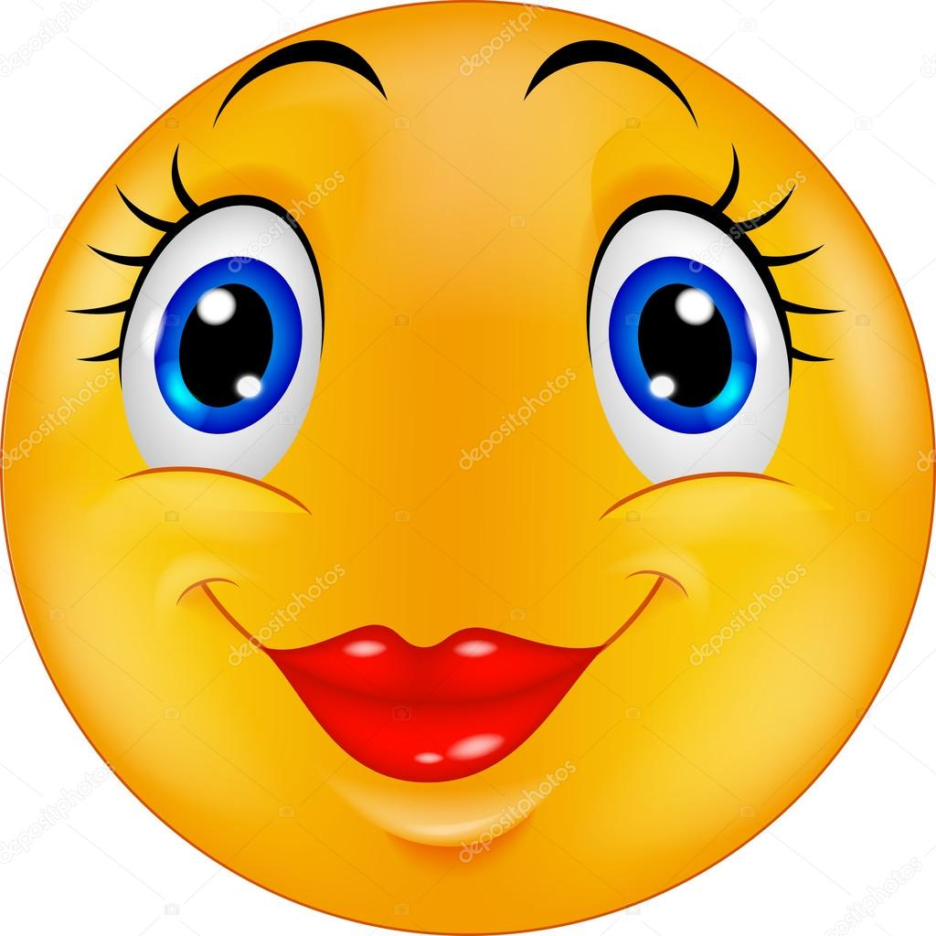 Mignon dessin animé femelle emoticon smiley image