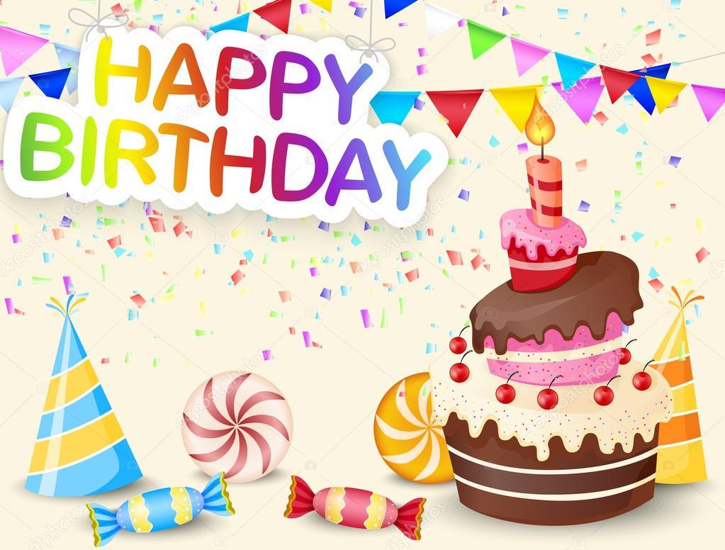 Fondo De Cumpleaños Con Dibujos Animados De Pastel De