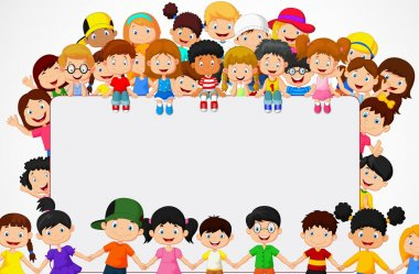 Vector illustration of Crowd children cartoon with blank sign stock vector