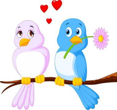 Vector illustration of Cartoon couple bird on a branch clip art vector