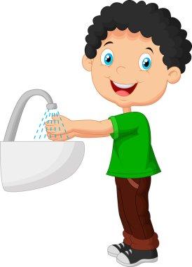 Cute cartoon boy washing his hands