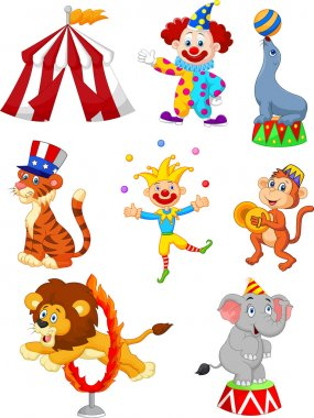 Vector illustration of Cute cartoon set Circus themed stock vector