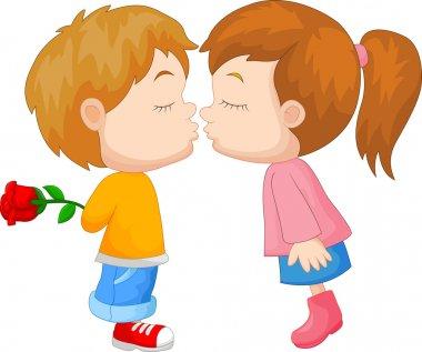 Vector illustration of Cartoon boy and girl kissing stock vector