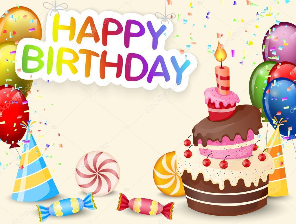 Fundo De Aniversário Com Desenho De Bolo De Aniversário Vetores De