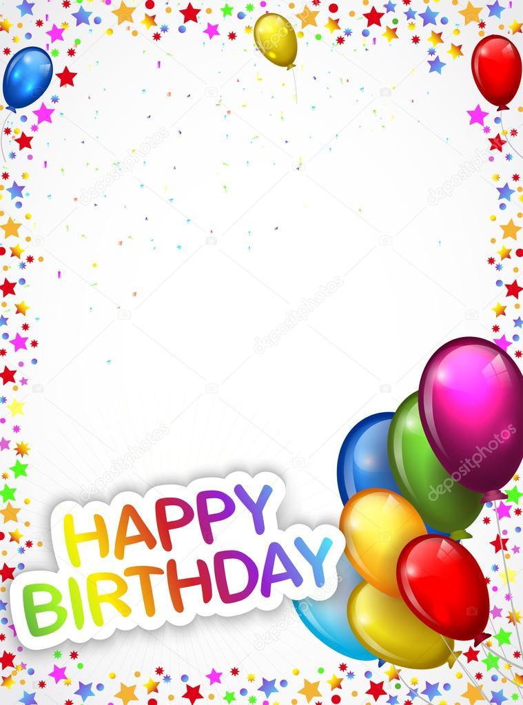 Verjaardag Achtergrond Met Kleurrijke Ballon Cartoon