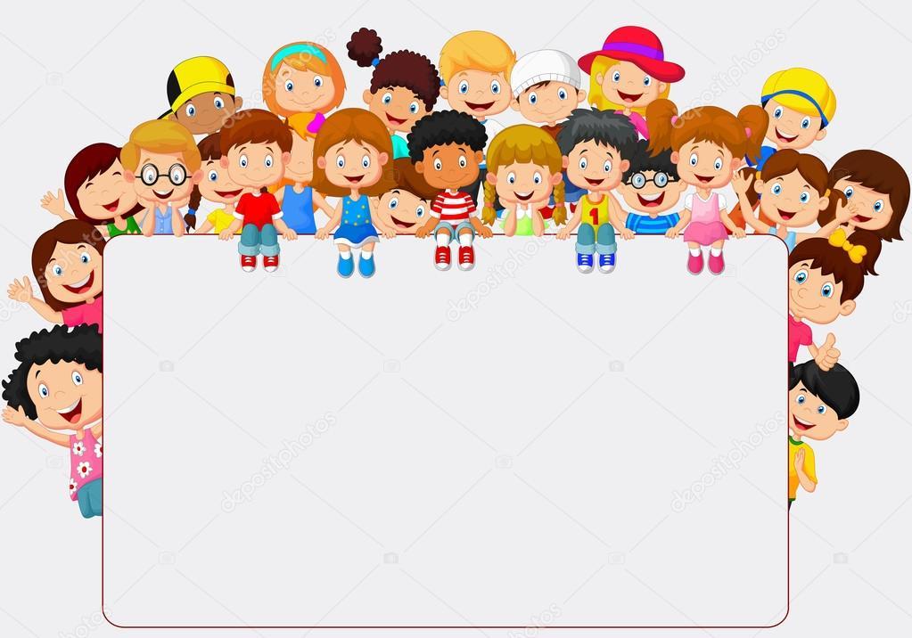crowd children cartoon with blank sign stock vector - Free Children Cartoon