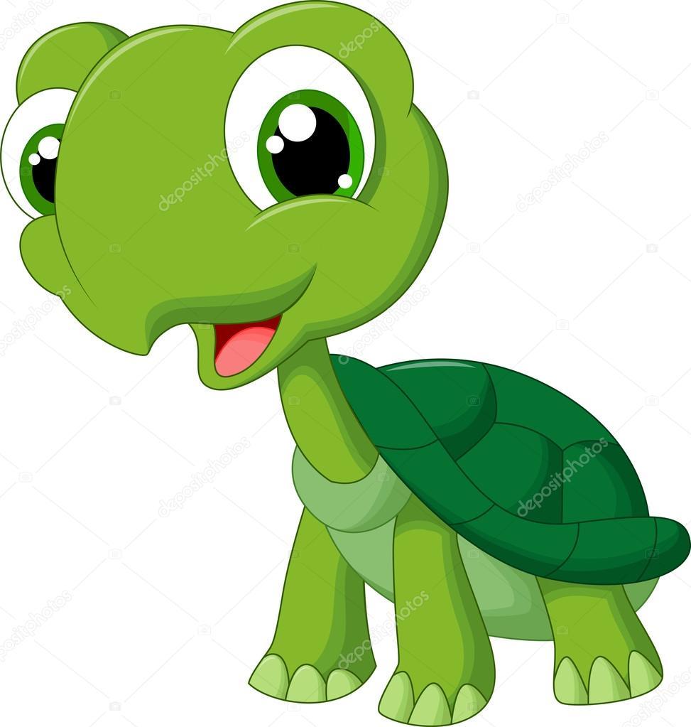Tartaruga simpatico cartone animato — vettoriali stock