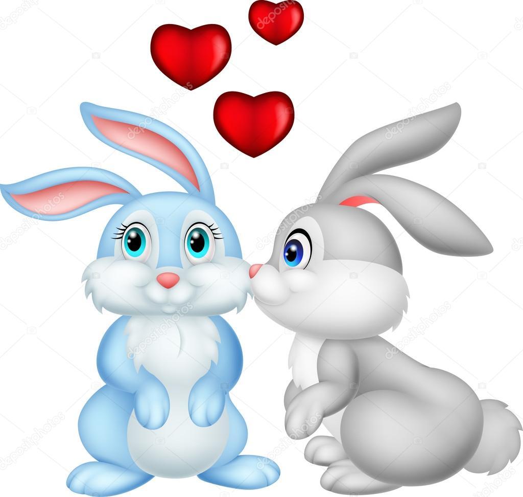 Dessin Amoureux Mignon deux lapins dessin animé mignon en amour — image vectorielle