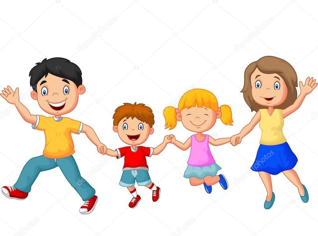 Familia Feliz De Dibujos Animados, Agitando Las Manos