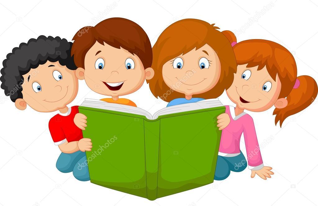 Niños De Dibujos Animados Leyendo Libro Archivo Imágenes