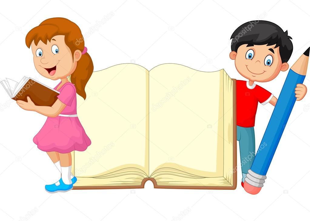 Animado Niños Animados Estudiando Niños De Dibujos Animados Con