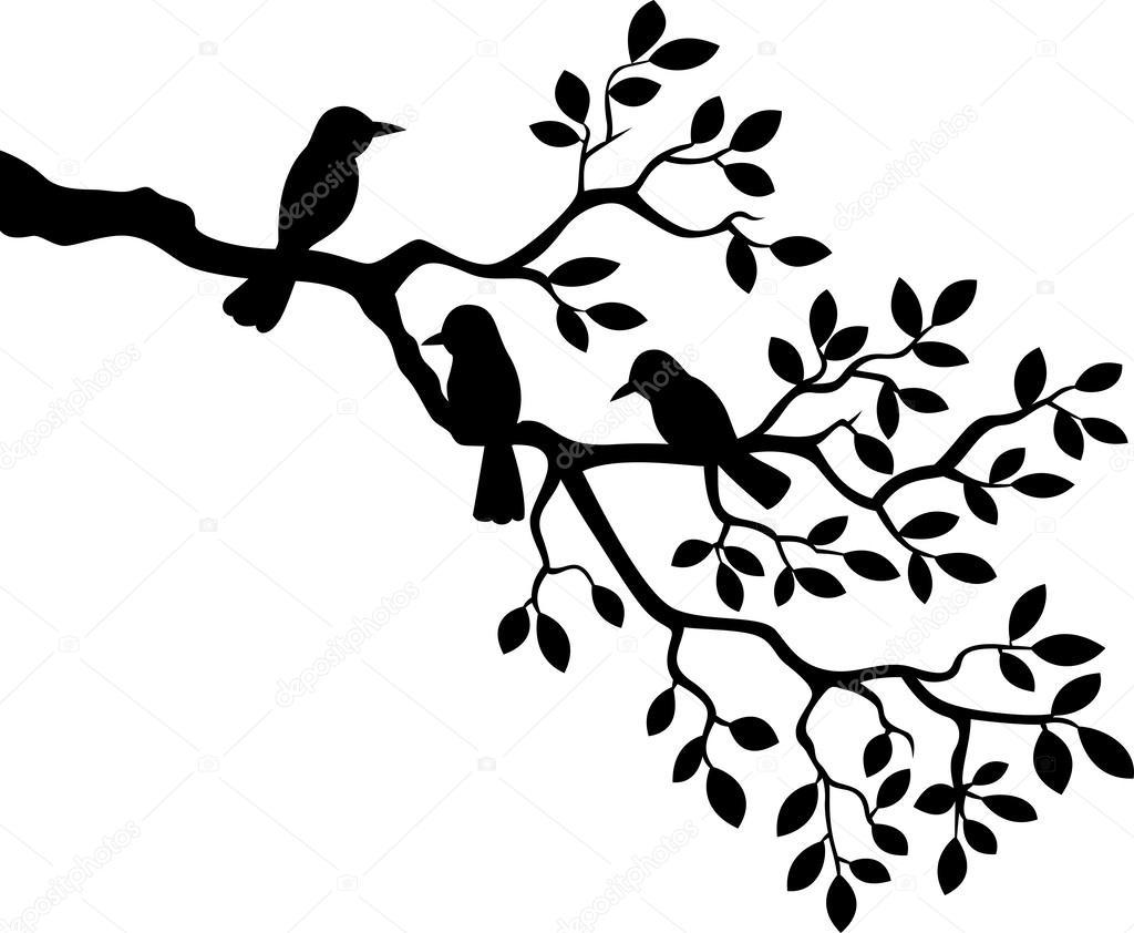 branche d 39 arbre dessin anim avec la silhouette de l. Black Bedroom Furniture Sets. Home Design Ideas
