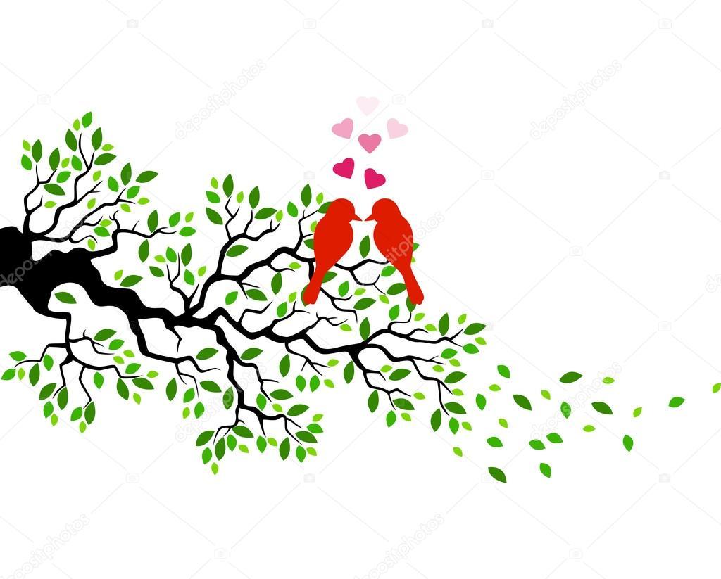 Dibujos Animados De Barba De Amor En Una Rama De árbol Archivo