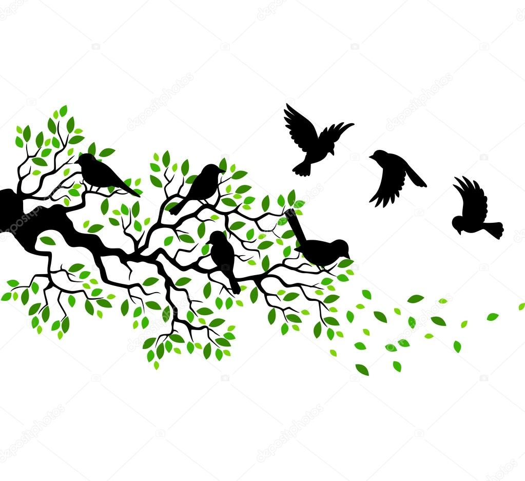 Stock Illustration Tree Silhouette With Birds Flying