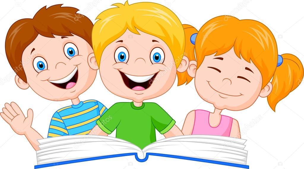 Niños De Dibujos Animados Leyendo