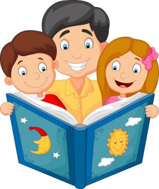 Cartoon father reading with his children