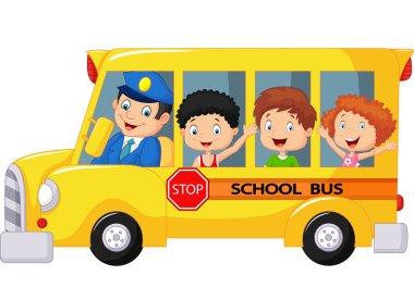 Happy children cartoon on a school bus