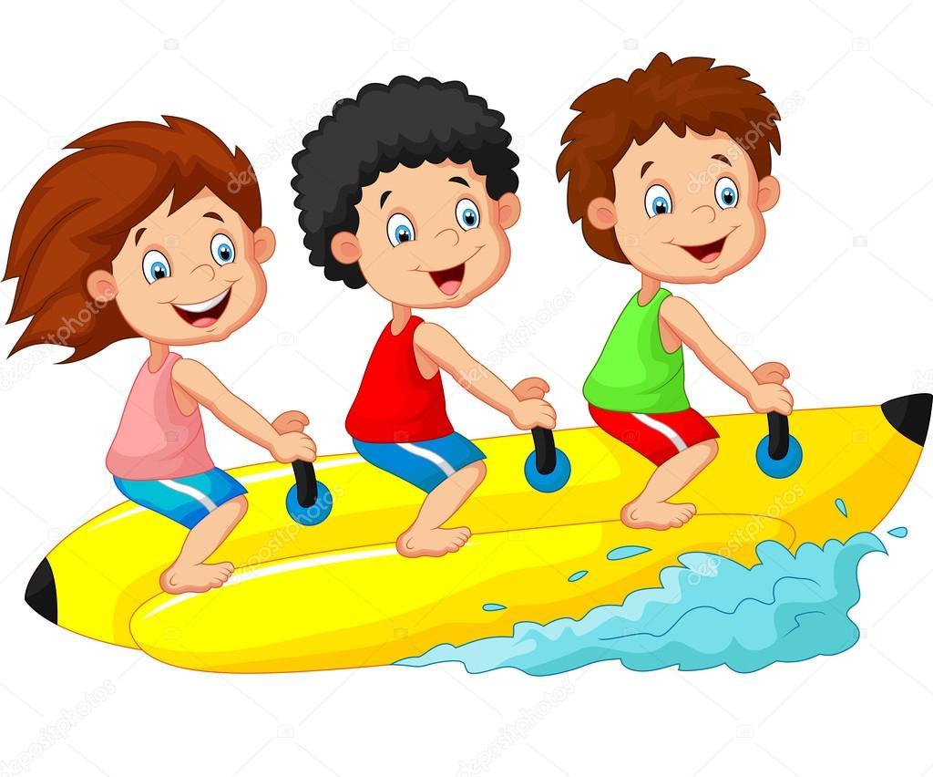 Caricatura De Niños Felices Montando Un Bote De Plátano