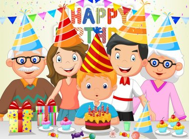 Happy boy cartoon blowing birthday candles with his family