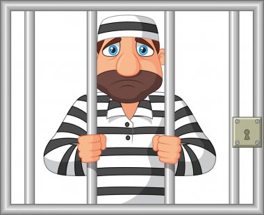 Cartoon Prisoner behind bar