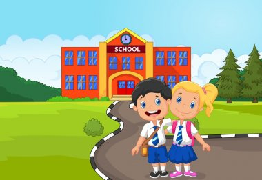 Two happy students cartoon standing in front of school building