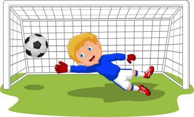 Cartoon Soccer football goalie keeper saving a goal