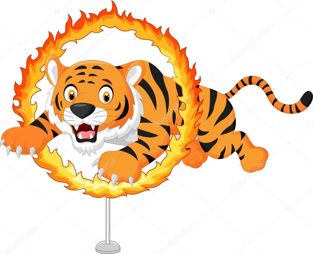Cartoon Tiger Jumps Through Ring Of Fire U2014 Stock Vector