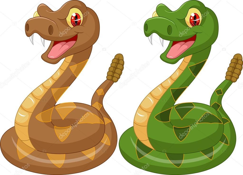 serpiente de cascabel de dibujos animados  u2014 archivo