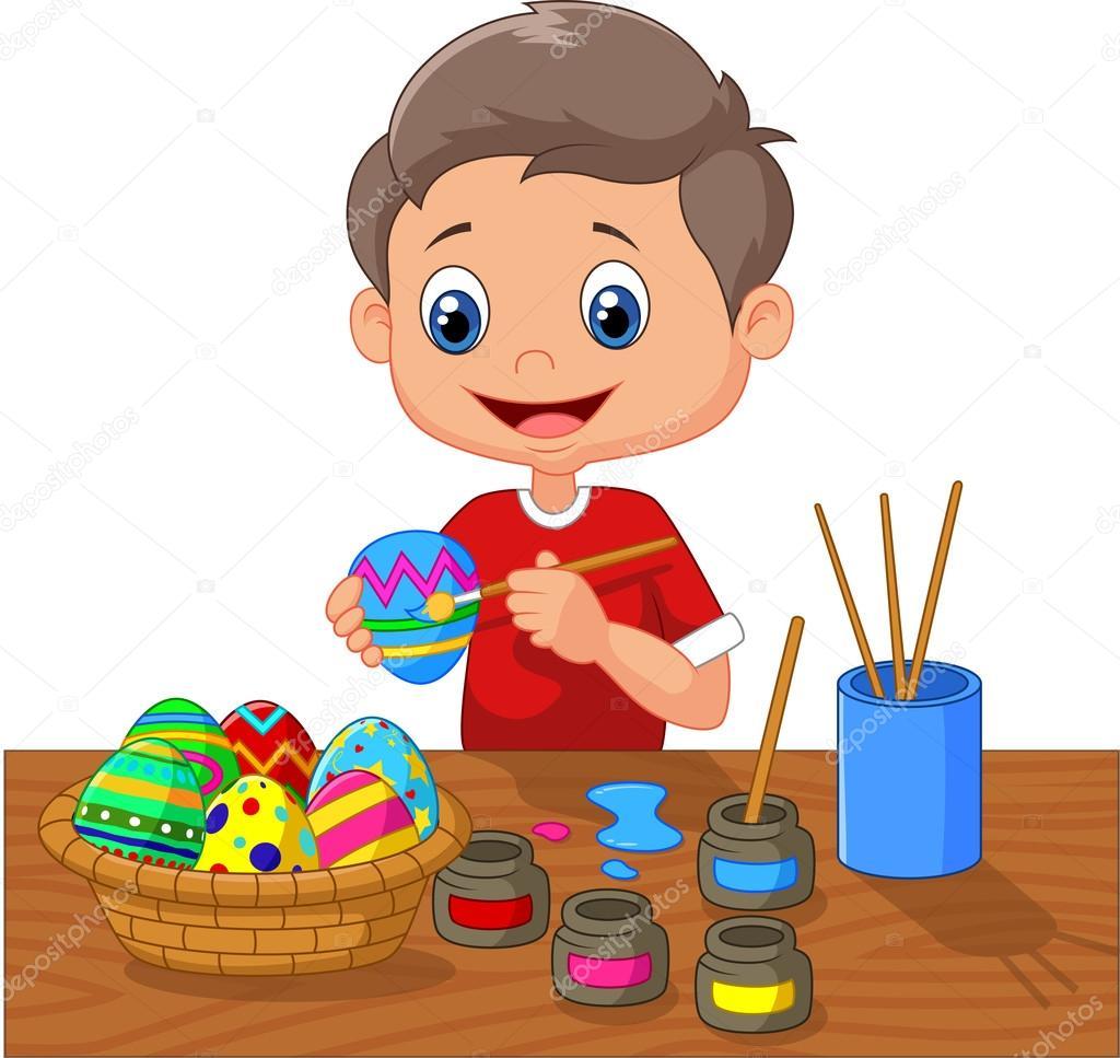 Ni o de dibujos animados pintar huevos de pascua vector - Ninos pintando con las manos ...