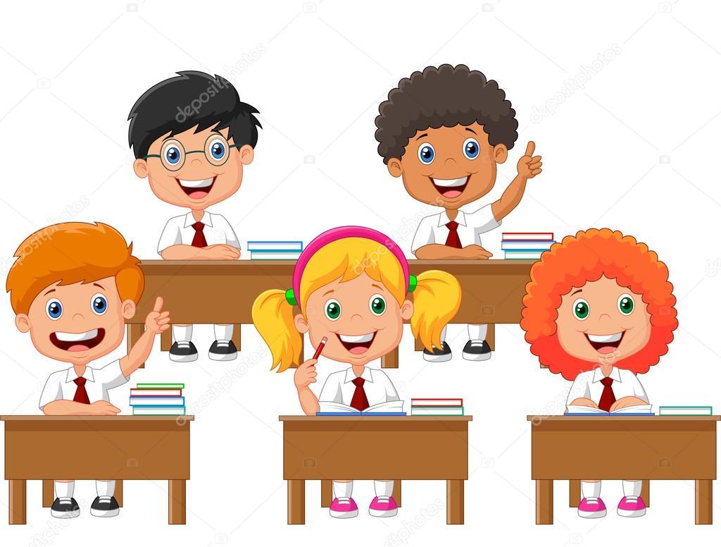 Dibujos Animados De Niños En Edad Escolar En Aula De Clase Archivo