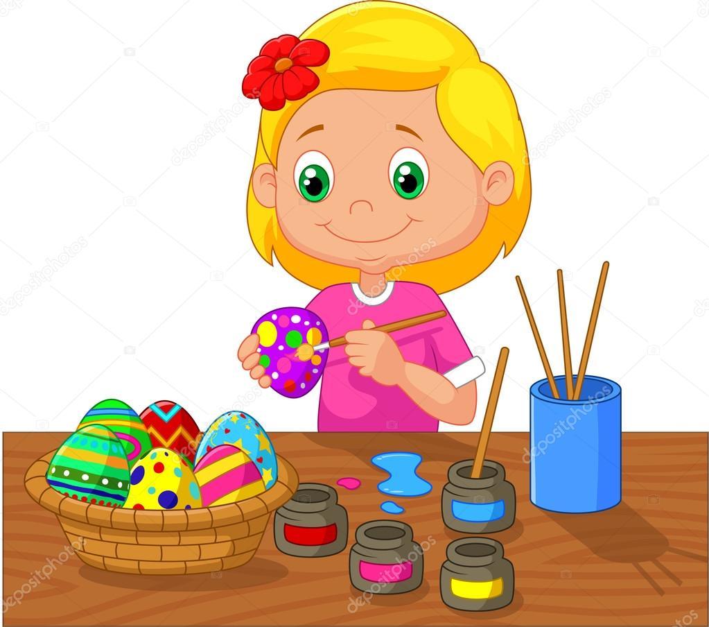 Chica de dibujos animados, pintar huevos de Pascua — Vector de stock ...