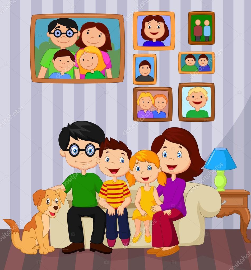 Dibujos animados familia feliz sentado en el sof for Sala de estar animada