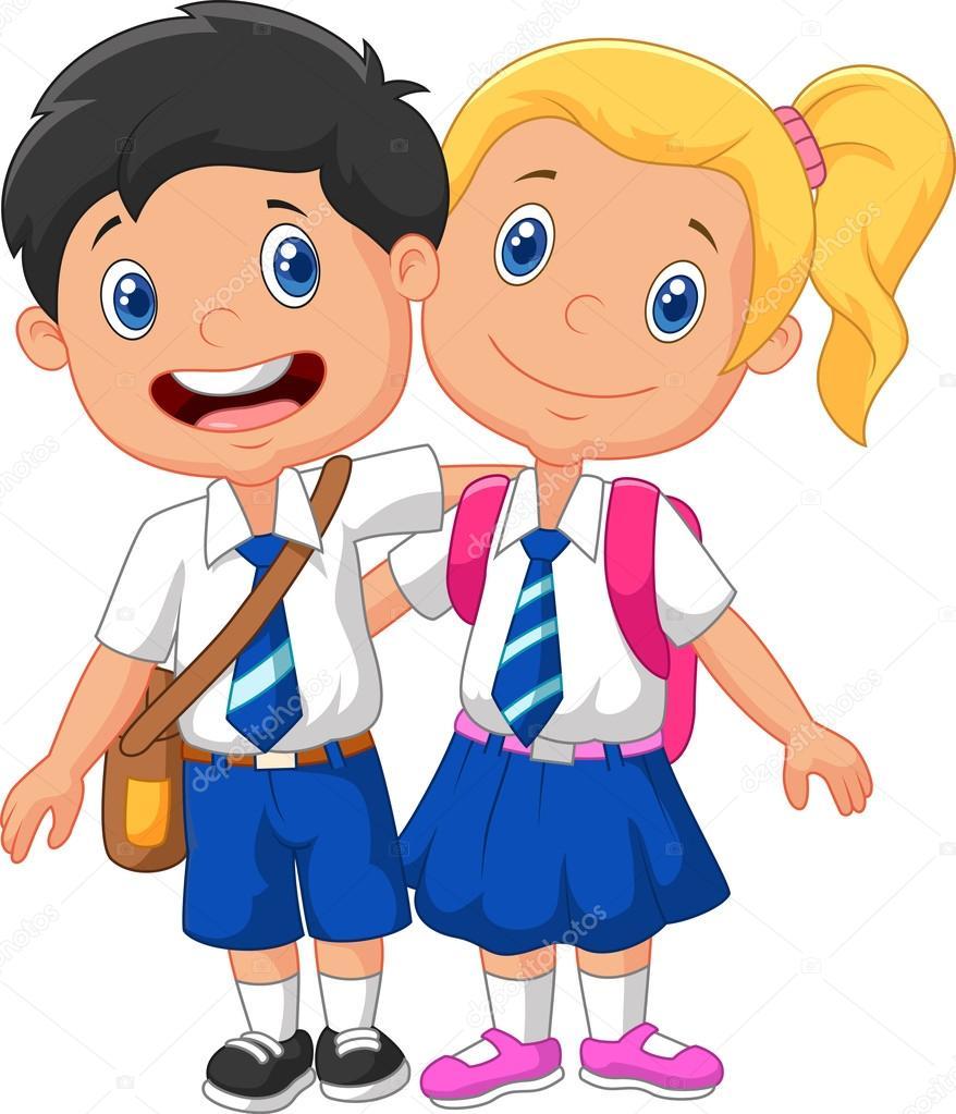 vector illustration of cartoon school children vector by tigatelu - Cartoon Picture Of Children