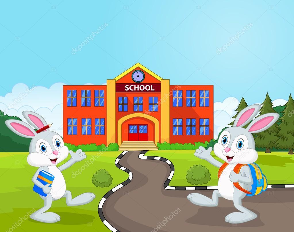 Dibujos Animados De Conejos Pequeños Van A La Escuela