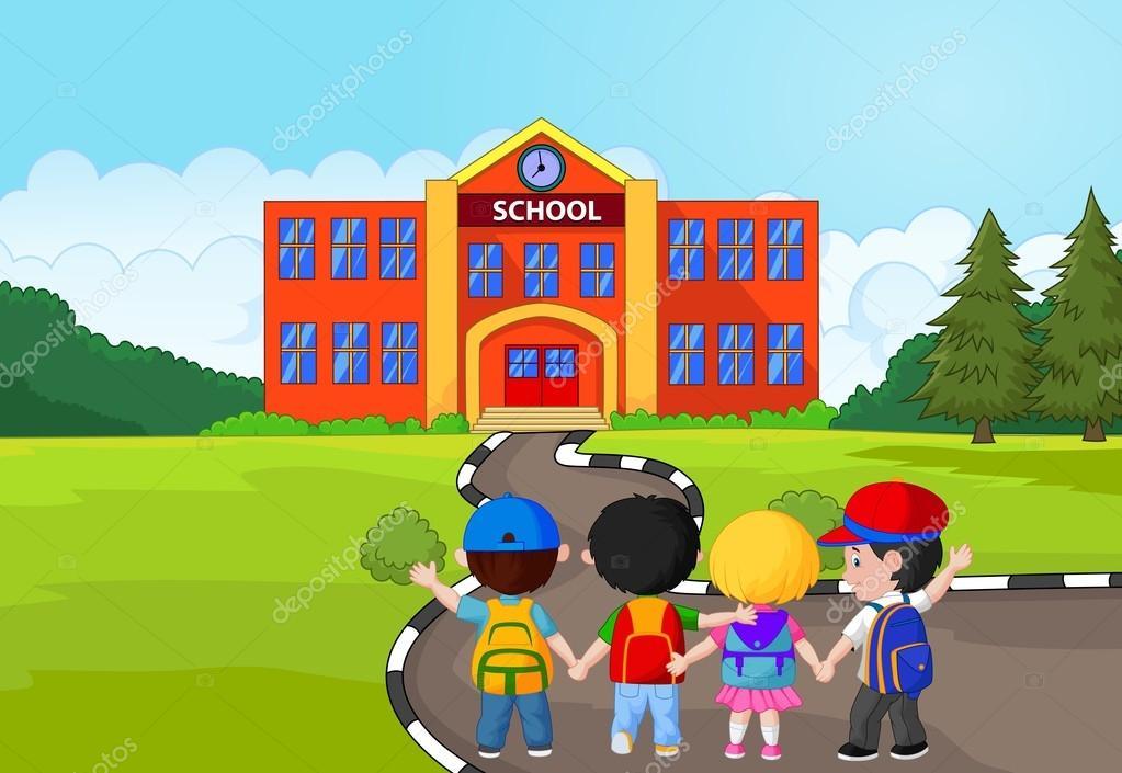 Dibujos Animados De Niños Pequeños Van A La Escuela