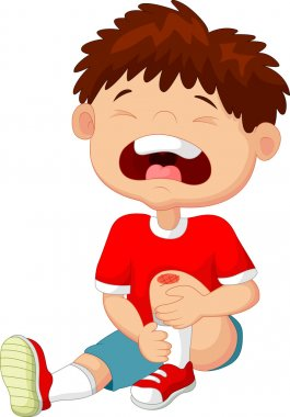 Cartoon boy crying with a scratch on his knee