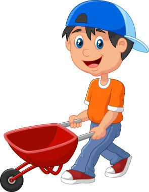 Cute boy cartoon pushing a wheelbarrow