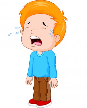 Cartoon a young boy crying