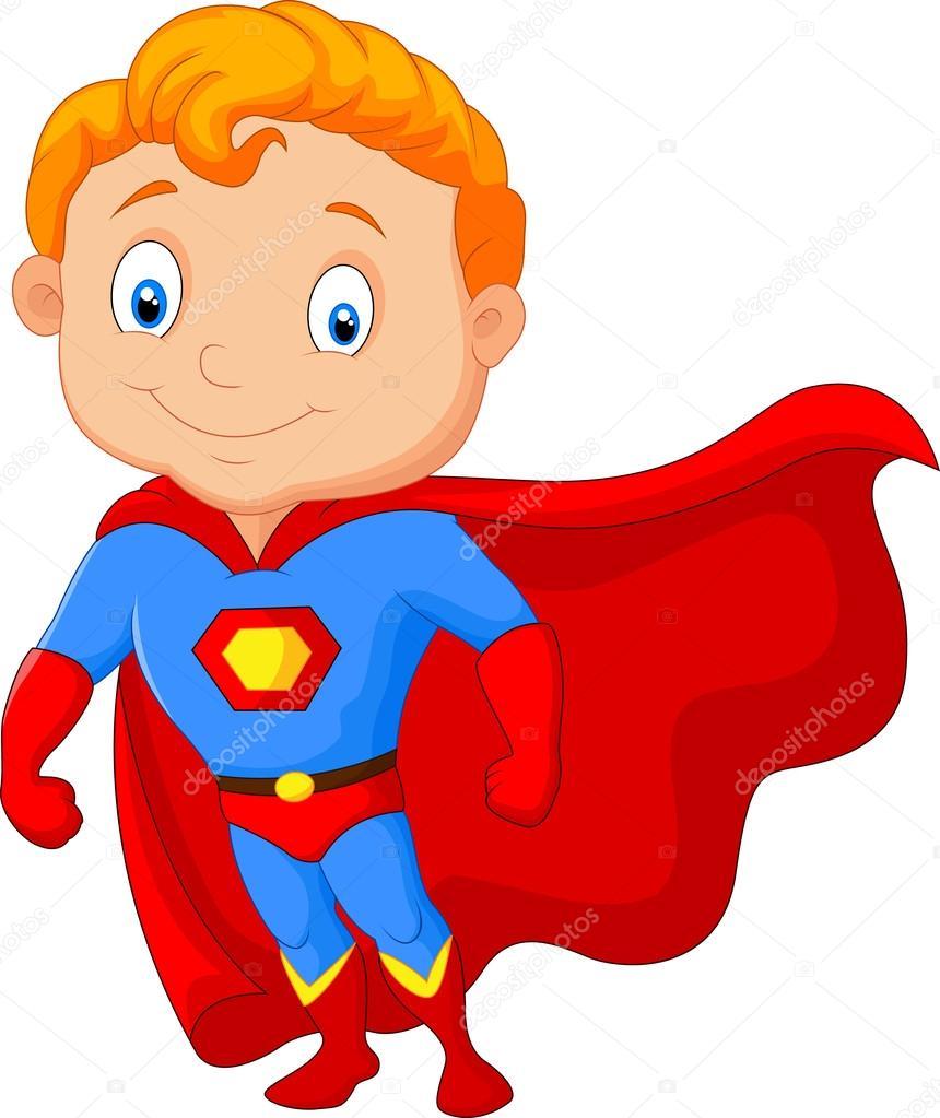 Super Y Cartoon Characters : Dessin animé petit super héros garçon — image vectorielle