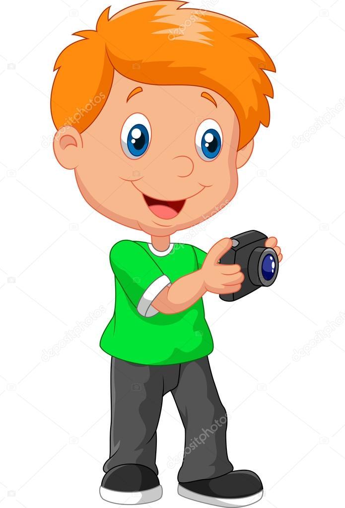 Little boy cartoon holding camera stock vector - Dessin petit garcon ...