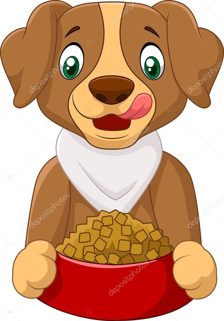 Dibujos Perros Dibujos Animados De Perro Hambriento Con Alimentos