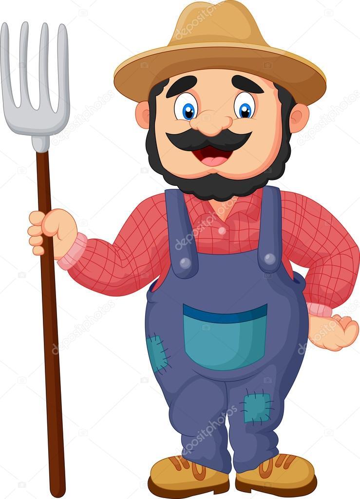 granjero de dibujos animados sosteniendo un rastrillo farmer wife clipart farmer wife clipart