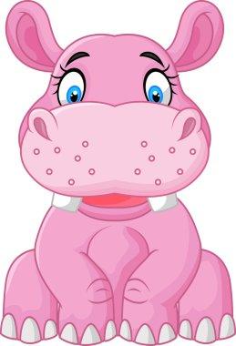 Cartoon happy hippo sitting
