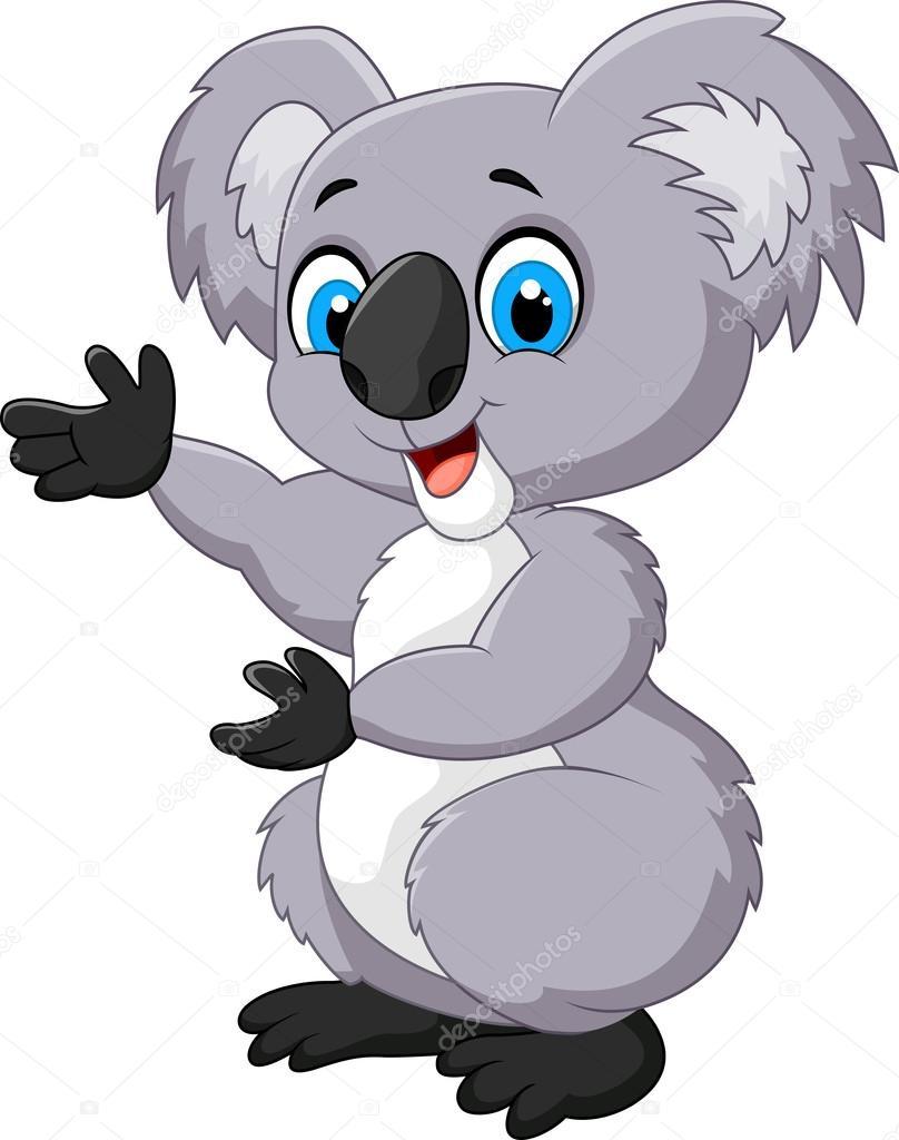 Happy cartoon koala
