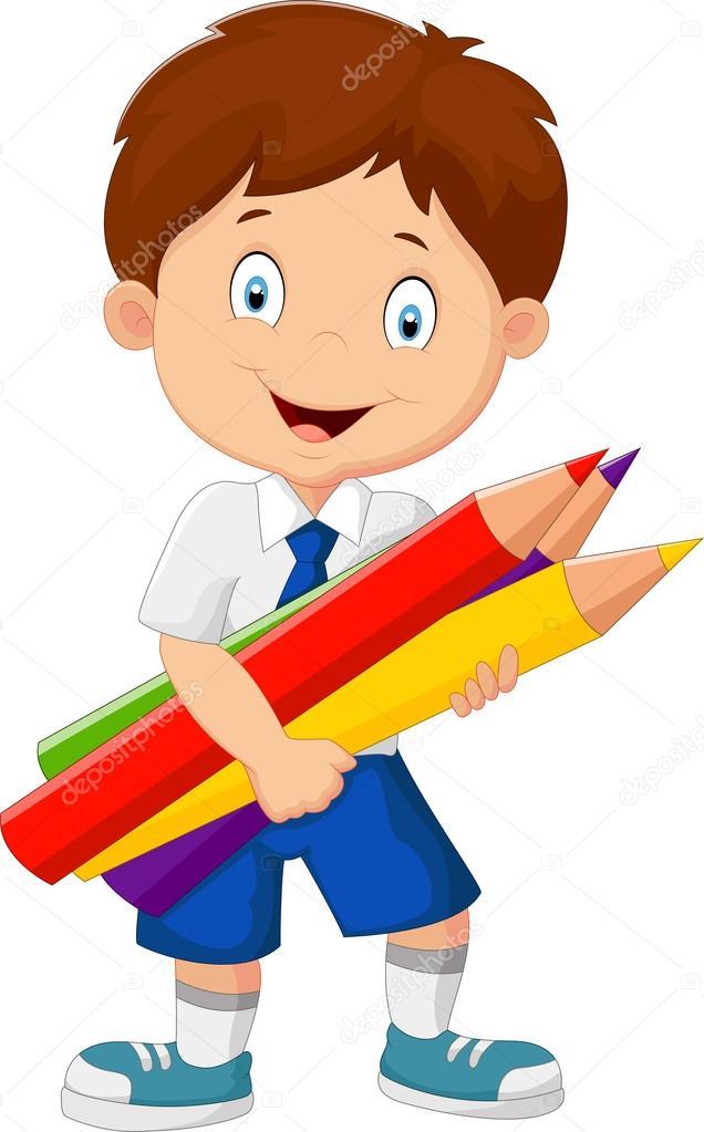 Cartoon School Boy Holding Colorful Pencils Stock Vector
