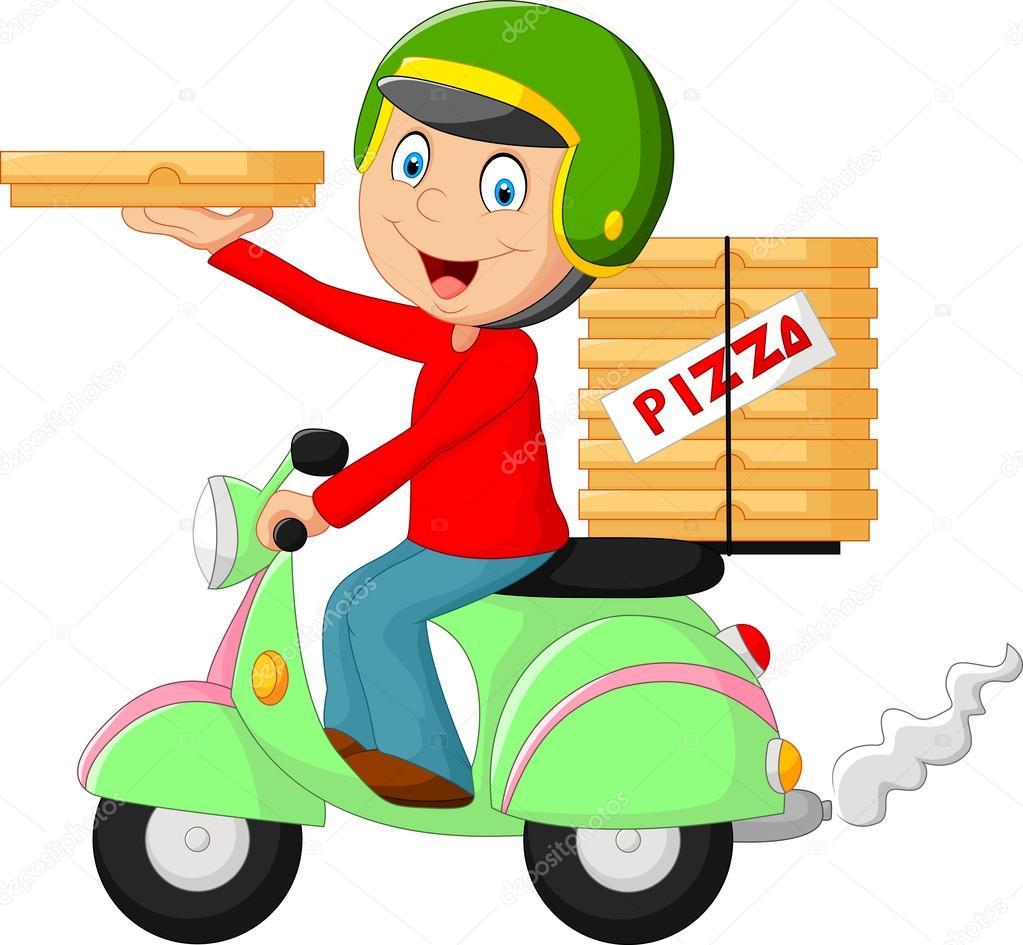 Dibujos Dibujo Niño En Moto Cartoon Pizza Entrega Niño A