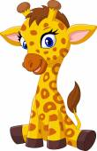 Photo Cartoon baby giraffe sitting