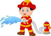 Kreslený hasič nalévá z požární hadice